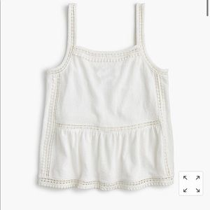 Embroidered trim tank in textured crepe sz s NWT